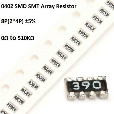 0402 SMD/SMT Array Resistor 8P(2*4P) ±5% Network Resistance 0Ω To 510KΩ