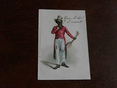 Original Tuck Ethnic Postcard - Man With Musical Instrument, Yes I Do.