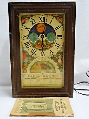 MECHTRONICS CLOCK TIME TO PLANT BURPEE SEEDS 1975 WOOD CASE W/ Instructions