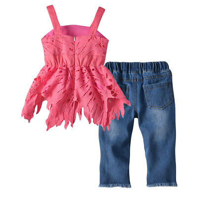 2PCS Toddler Kids Baby Girls Lace T-shirt Dress+Ripped Jeans Outfits Clothes Set