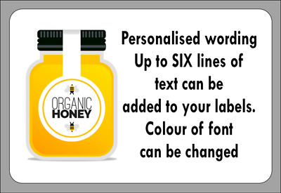 Personalised Organic Honey Self Adhesive Labels with FREE protective wallet