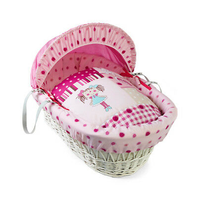 Clair de Lune My Dolly White Wicker Moses Basket, Pink