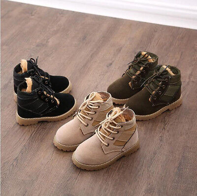 Kids Girls boys Outdoor leather Combat shoes  lace up Climbing Ankle boots N021