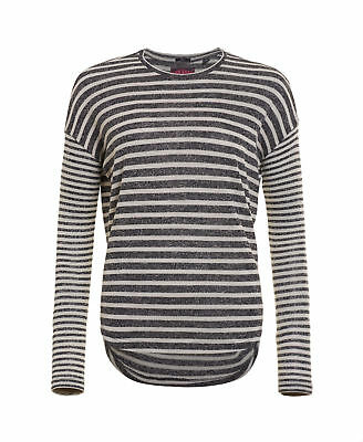 New Womens Superdry Factory Second Parisian Slouch Top Navy Marl Stripe