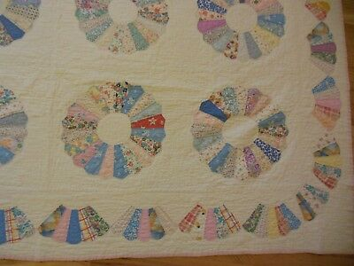 Vintage Hand Pieced & Quilted Dresden Plate 84 1/2 by 86 Full Quilt