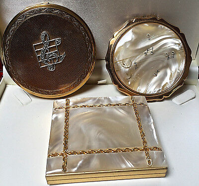 Mixed Lot Vintage Musical/mother Of Pearl Powder Compacts/photo Frame