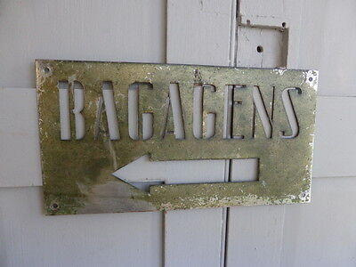 """Antique French Art Deco metal hotel stencil sign """"Bagagens"""" or Luggage"""