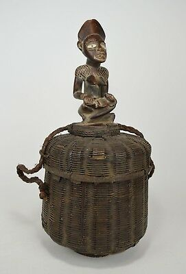 Rare Kongo maternity figure on basket ~ African Art