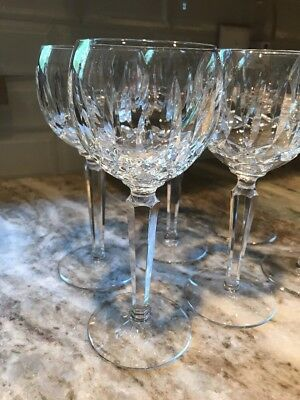 WATERFORD Crystal Ireland LISMORE Pattern  6- WINE HOCK GLASSES  Goblets  7 5/8""