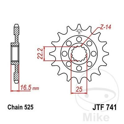 JT Front Sprocket 14T 525 Pitch JTF741.14 Ducati Multistrada 1100 2008