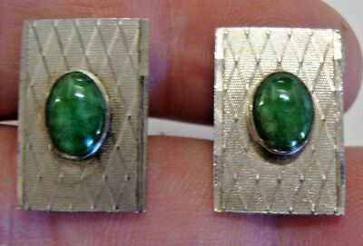 Vintage pair of gents Chinese hallmarked silver and jade cufflinks