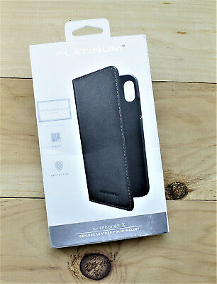 Platinum™ - Genuine Leather Wallet Folio Case for iPhone X & iPhone Xs -Charcoal