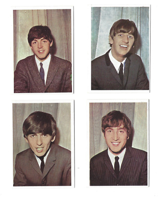 4 Beatles Topps Trading Cards 1964 Color/Colour Diary TCG Gum #1, 2, 3, 4