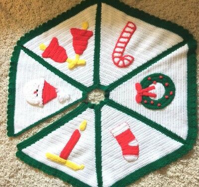 Crochet Christmas Tree Skirt Afghan Green Red White santa, wreath, bells, candle