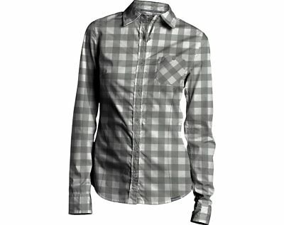 Polaris Womens Grey Foothills Flannel Long Sleeve Button Up