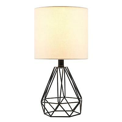 CO-Z Table Lamp with White Fabric Shade, Desk Lamp with Hollowed Out Base 18 inc
