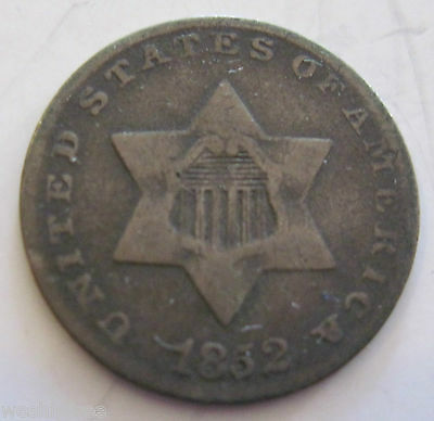 1852 silver Three Cent (#710e)
