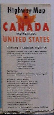 1956 Highway Map of Canada & Northern United States by the Canadian Government