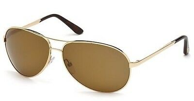 b38b71c7b1 NEW Tom Ford Charles FT0035 28H Rose Gold Polarized Shades Aviator  Sunglasses