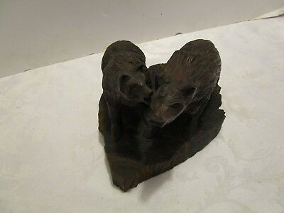 "Vtg Hand Carved Iron Wood 2 Bears sculpture figurine wood base one piece 8"" wide"