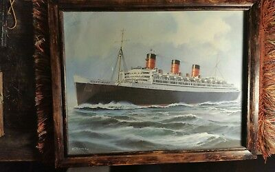 Very Nice Period Framed Print Of The R.m.s. Queen Mary Measures 9 By12 Inches