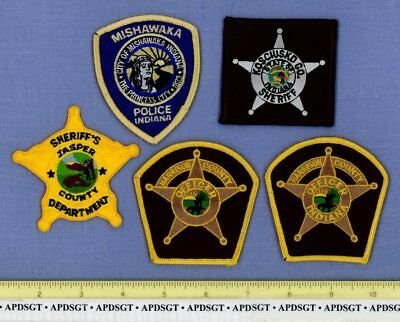 INDIANA POLICE HAT PATCHES LOT of 5 Sheriff Patch MISHAWAKA INDIAN JASPER HARRIS