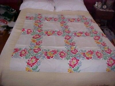 Vintage White Printed Tablecloth With Pink, Red, Blue Floral Pattern