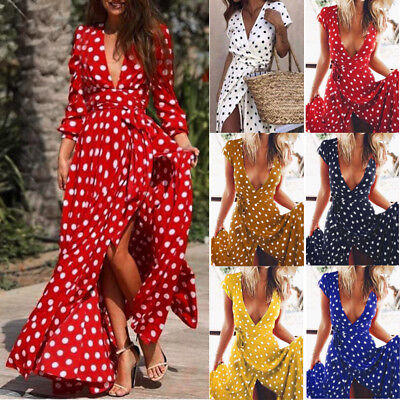 Women Holiday Polka Dots Slit Ladies Maxi Long Summer Party Beach Cocktail Dress