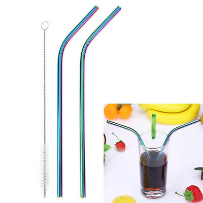 2pcs Reusable Stainless Steel Metal Drinking Straws Washable+1pc Cleaning Brush