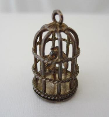 Vintage Sterling Silver English CHIM BIRDCAGE with LOVEBIRDS Charm