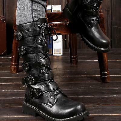 British Men Army Knee High Boots Gothic Military Buckle Combat Biker Riding Shoe