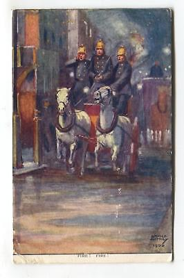 Fire! Fire! - horse-drawn fire engine - 1904 artistic postcard by Savile Lumley