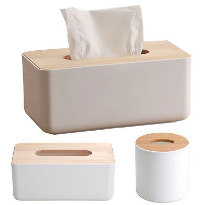 Wooden Bathroom Accessories Tissue Box Bamboo Napkin Case Car Home Decoration