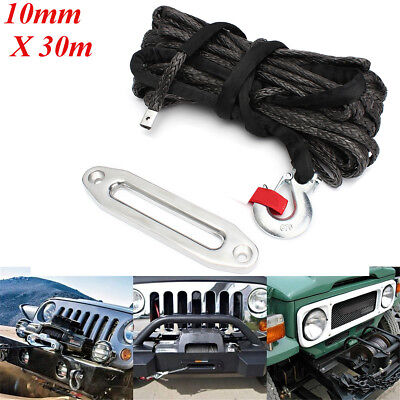 100ft 10mm 20000LB Synthetic Winch Rope G70 Snap Hook Hawse Fairlead Cable Winch