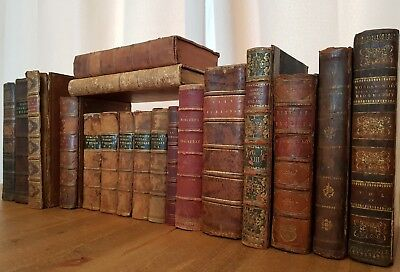 19th Century ANTIQUARIAN BOOK JOBLOT Collection LEATHER Calf GILT Antique OLD 1