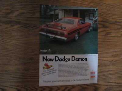 Vintage 1971,dodge Demon 340 Sport Coupe Print Ad Clipping