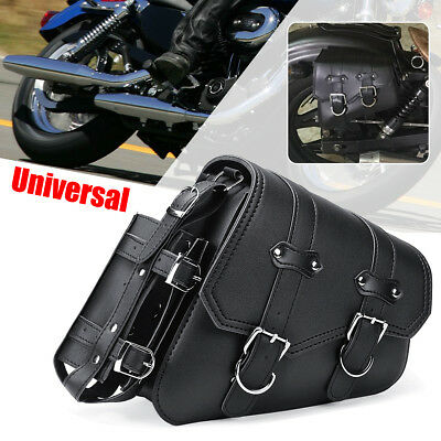 Right Motorcycle Saddle Bag Black Leather For Harley Sportster XL883 1200 04-UP