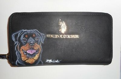 Rottweiler Dog Hand Painted Leather Wallet for Women