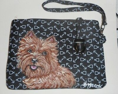 Wheaten Cairn Terrier dog Hand Painted  Leather Wristlet Pouch Mini Bag