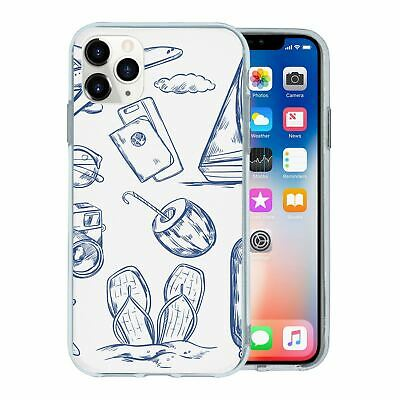 Silicone Phone Case Back Cover Travel Holiday Pattern - S4750
