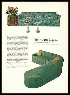 1962 HENREDON Modern Sofa, Sectional Couch Living Room Furniture PRINT AD