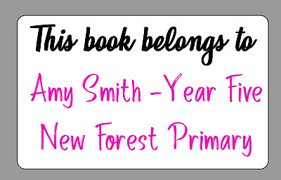 School Book Personalised This Book Back To School Self Adhesive Labels x 21