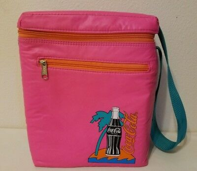 Vtg 1980s 1990s Hot Pink Insulated Coca Cola Soft Cooler Bag with Shoulder Strap