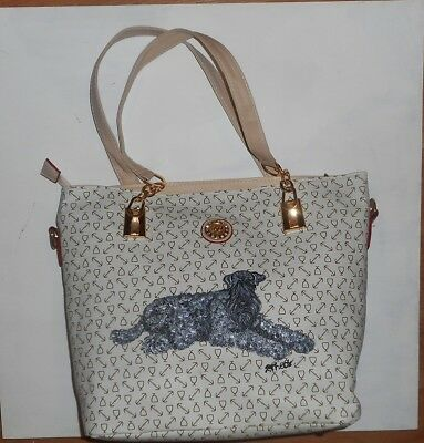 Kerry blue Terrier Hand Painted Leather Handbag Totebag Purse