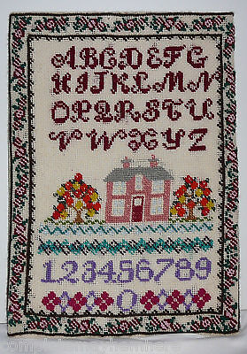 Needlework Sampler on board Alphabet House Flowers Numbers