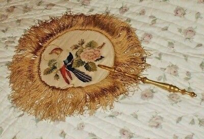 Victorian petit point embroidered face screen. late 1800s.