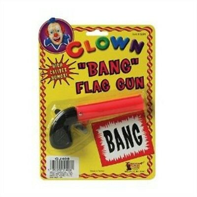 Pink Flag Bang Novelty Gun - Fancy Dress Joke Clown Accessory Circus