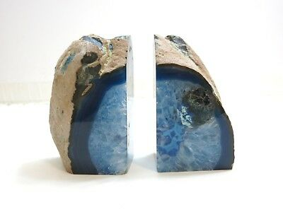 Fantastic Agate Geode Crystal Stunning Blue Bookends 7 Pounds Stone Rock