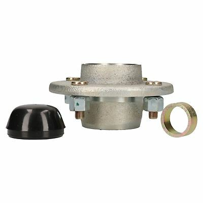 "Cast Trailer Wheel Hub  4"" PCD 1"" with Ball Bearings, Wheel Nuts & Hub Cap"