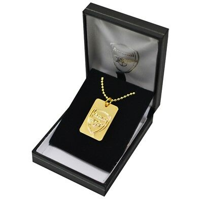 Arsenal F.c. Gold Plated Dog Tag & Chain - Fc Football New Official Gift